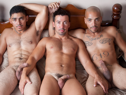 Dominik Rider's ass never had it so good as it does in this video. Buffed-out, hairy-assed Latino Miguel Temon and homeboy Leo Rivera take over Dominik's hole in every way they can until they double fuck it. After Leo drops a load, Miguel pumps in one of his own and pushes Leo's in deeper.